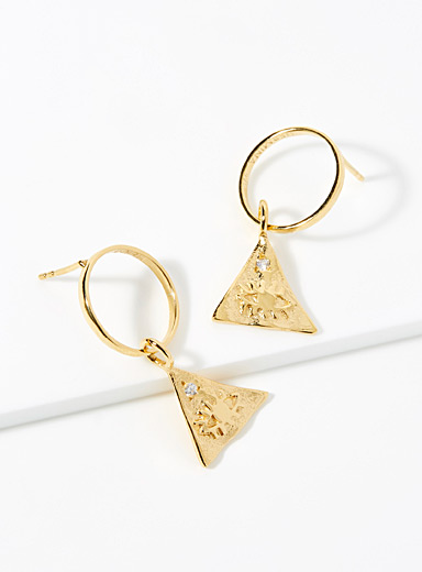 Hermina Gold Kressida pyramid earrings for women