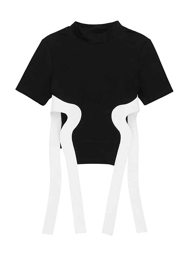 LECAVALIER Black Suede strap tee for women