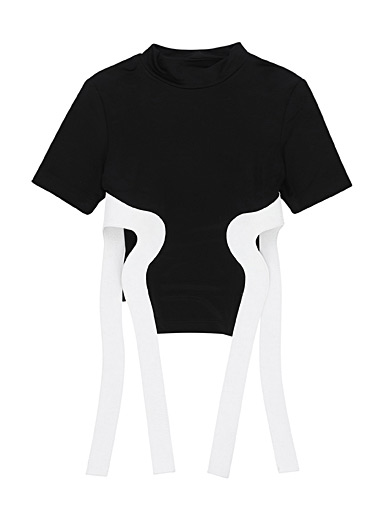 Suede strap tee