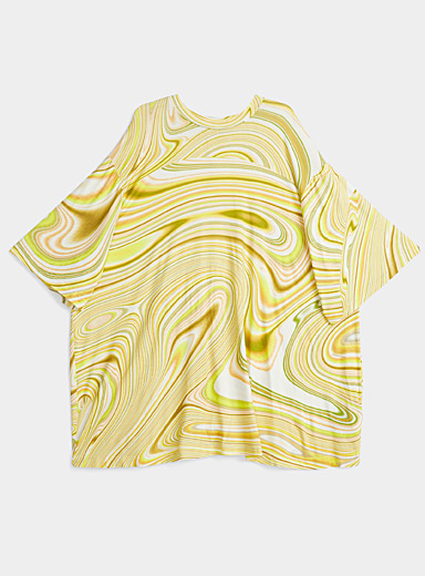 LECAVALIER Golden Yellow Colourful waves loose tee for women
