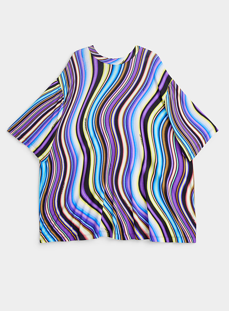 LECAVALIER Assorted Colourful waves loose tee for women