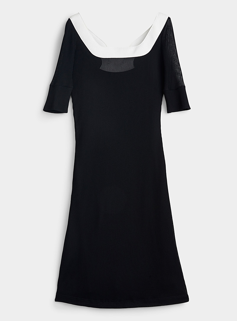 LECAVALIER Black Accent collar ribbed dress for women