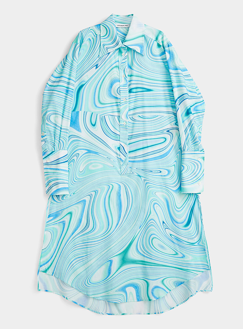 LECAVALIER Baby Blue Colourful wave shirtdress for women