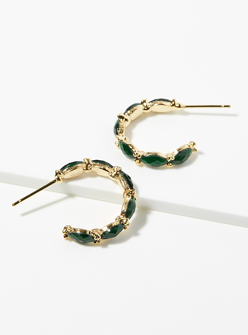Simons Green  Faceted spindle hoops for women