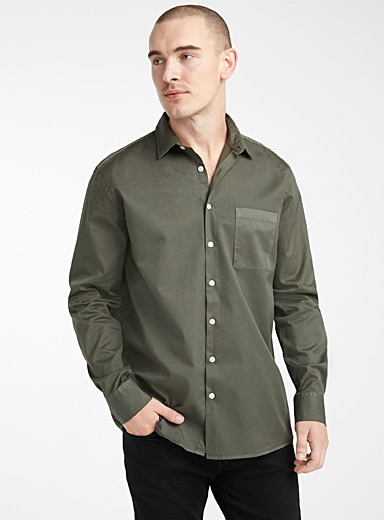 Le 31 Khaki Garment dyed shirt  Comfort fit for men