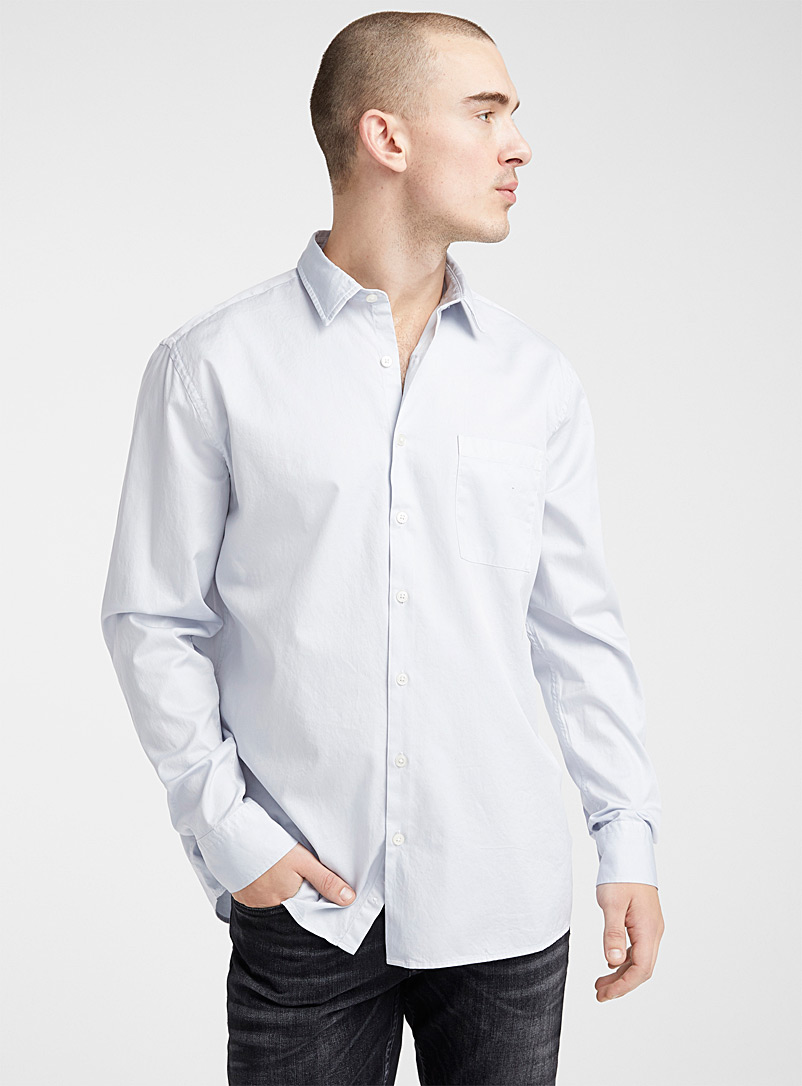 Le 31 Baby Blue Garment dyed shirt  Comfort fit for men
