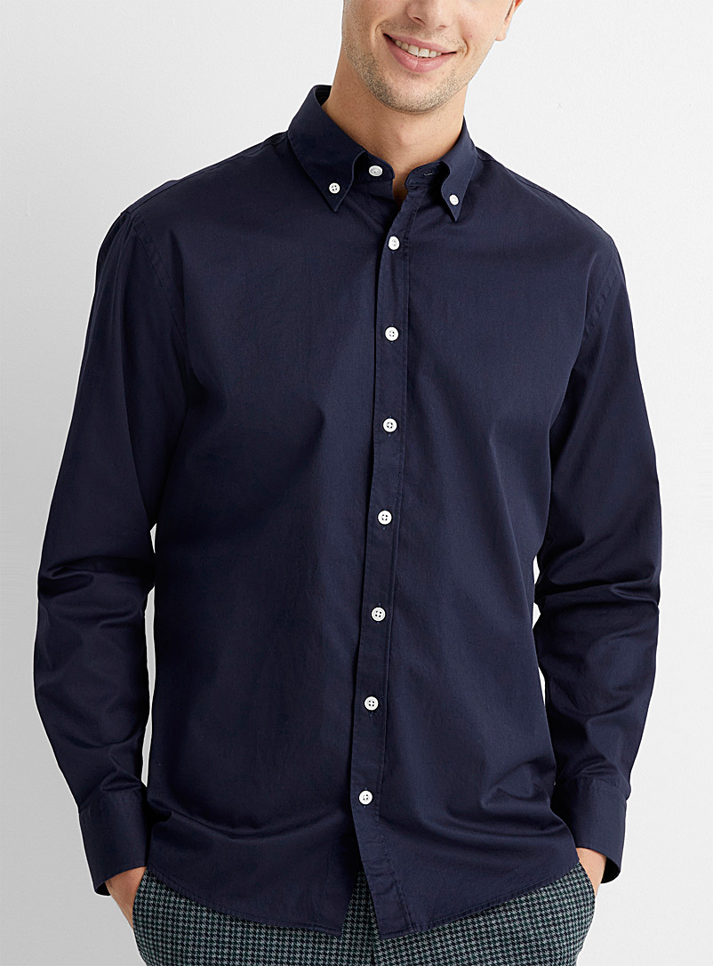 Le 31 Marine Blue Minimal shirt  Comfort fit for men
