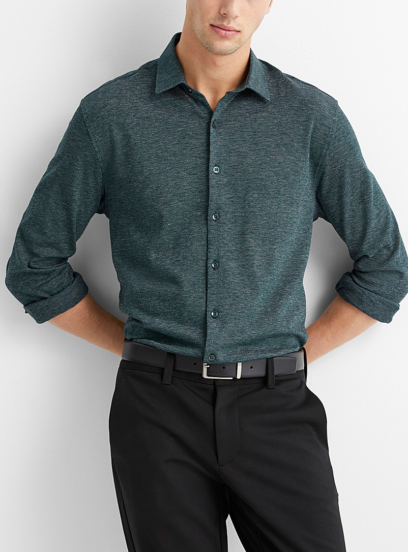 Le 31 Mossy Green Semi-plain piqué knit shirt  Modern fit for men