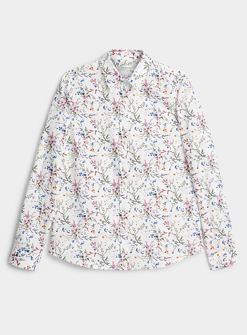 Contemporaine Patterned White Floral fragrance organic cotton shirt for women