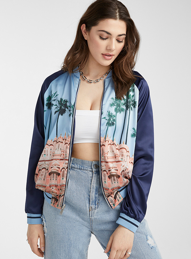 Icône Marine Blue Silky satin reversible bomber jacket for women