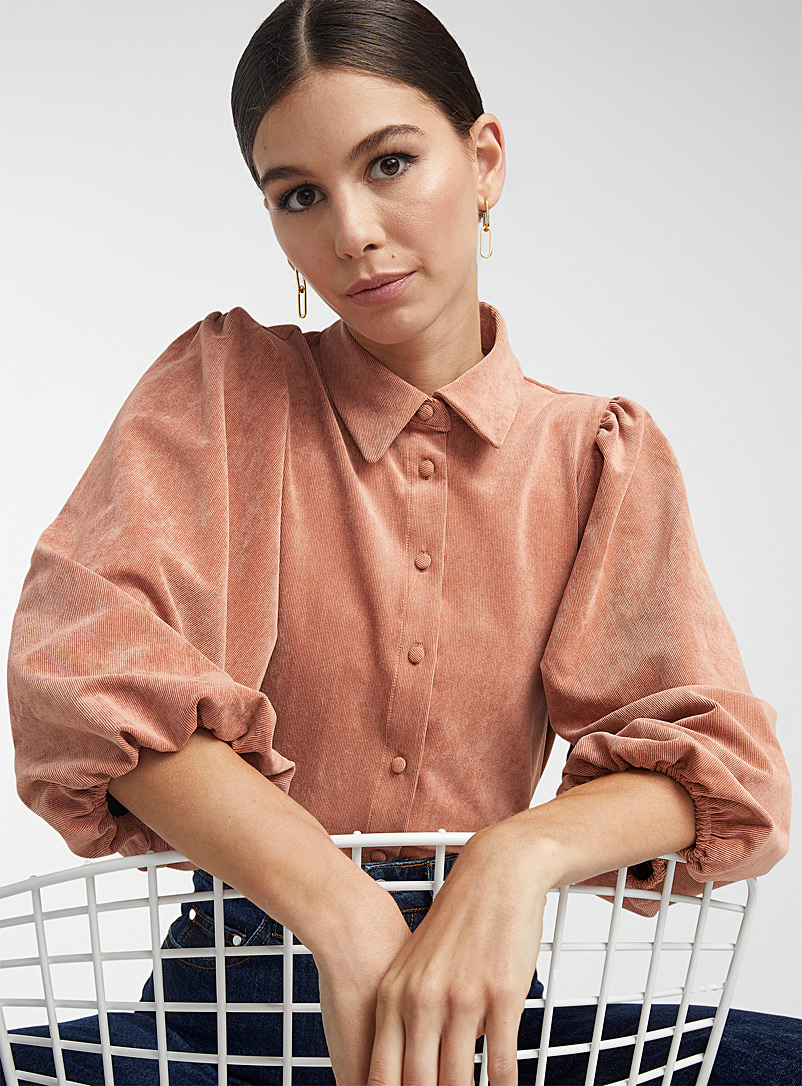 Icône Copper Micro-ribbed corduroy puff-sleeve shirt for women