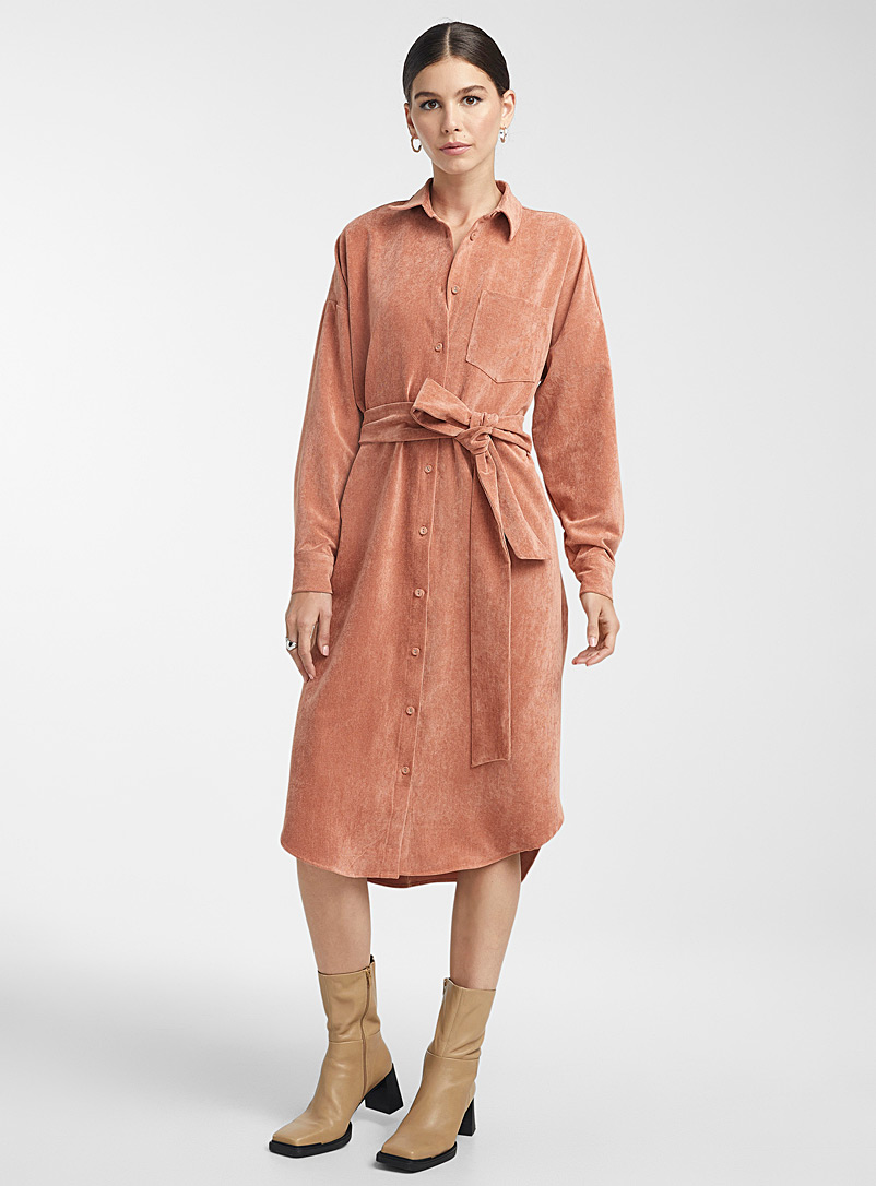 Icône Copper Corduroy belted shirtdress for women