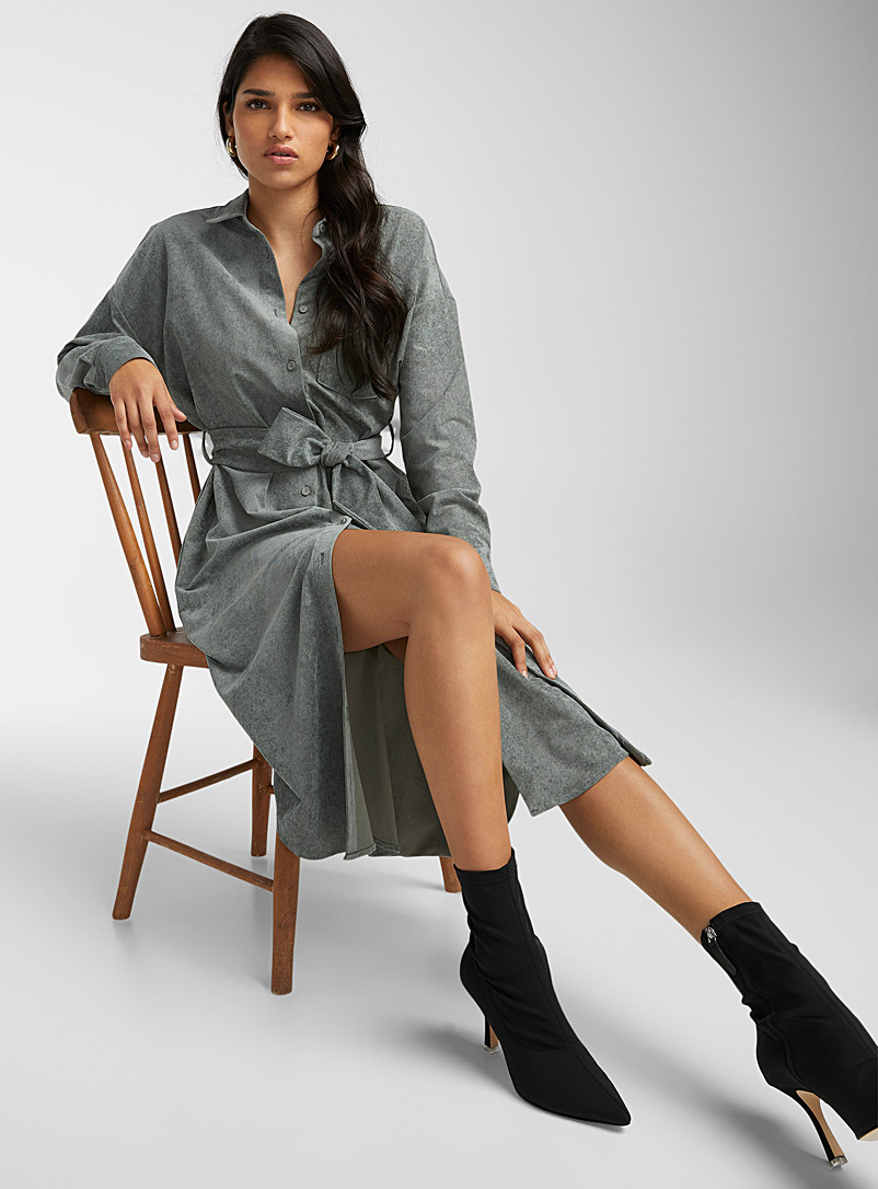 Icône Mossy Green Corduroy belted shirtdress for women