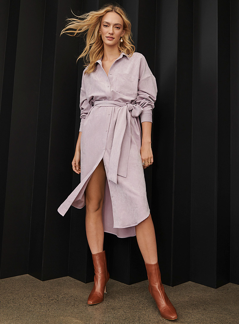 Icône Lilacs Corduroy belted shirtdress for women