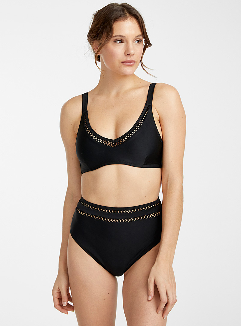 Simons Black Crochet trim circle bralette for women