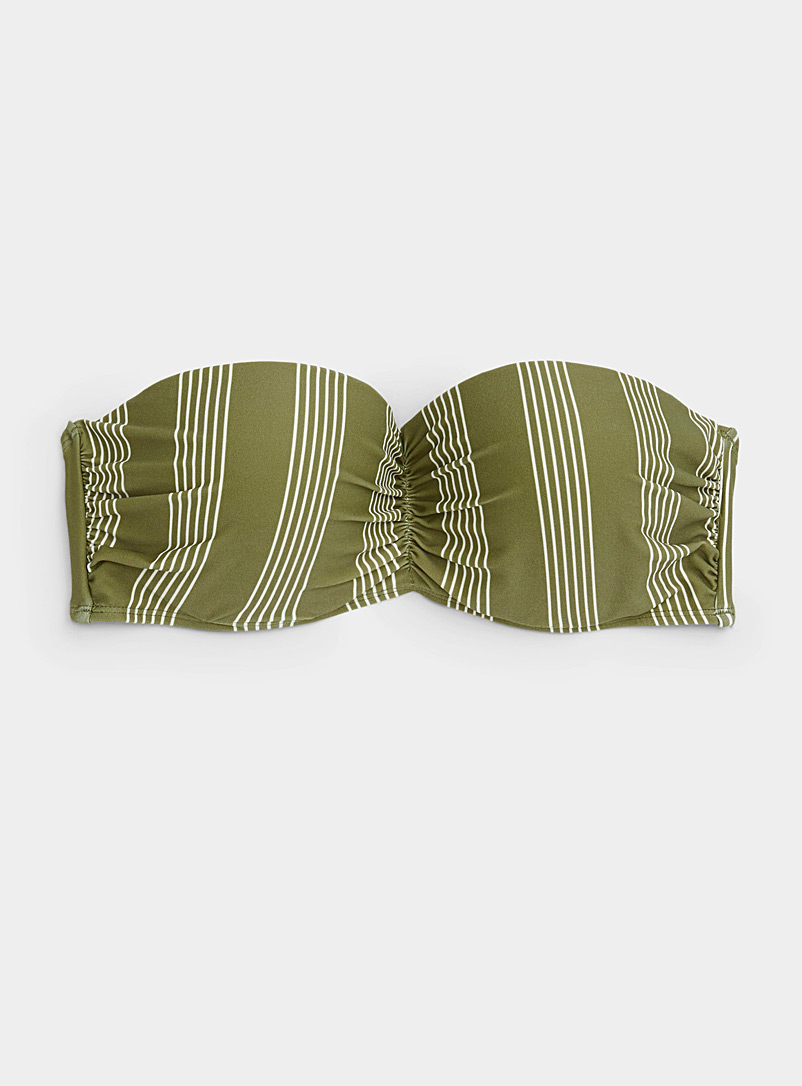 Simons Patterned Black Gathered moulded bandeau top for women