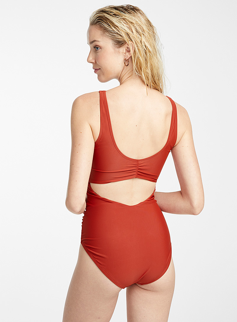 Crossover plunging one-piece - All Our Swimsuits - Copper