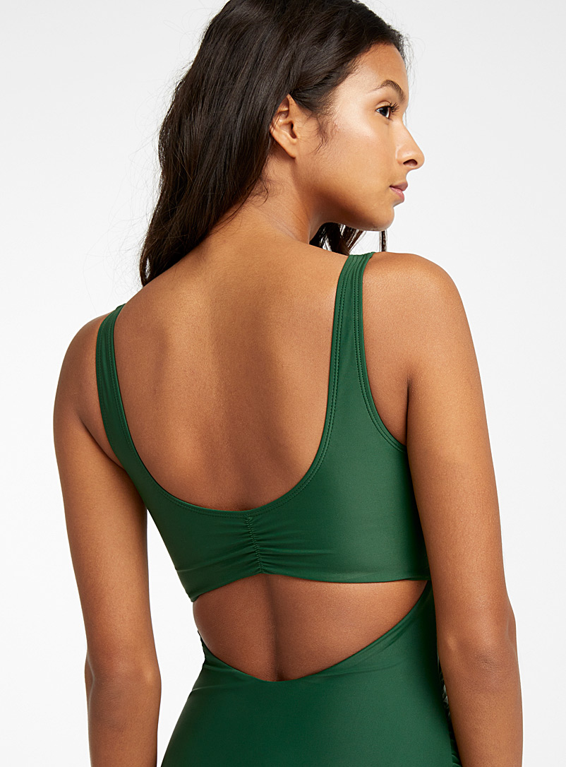 Crossover plunging one-piece - All Our Swimsuits - Green