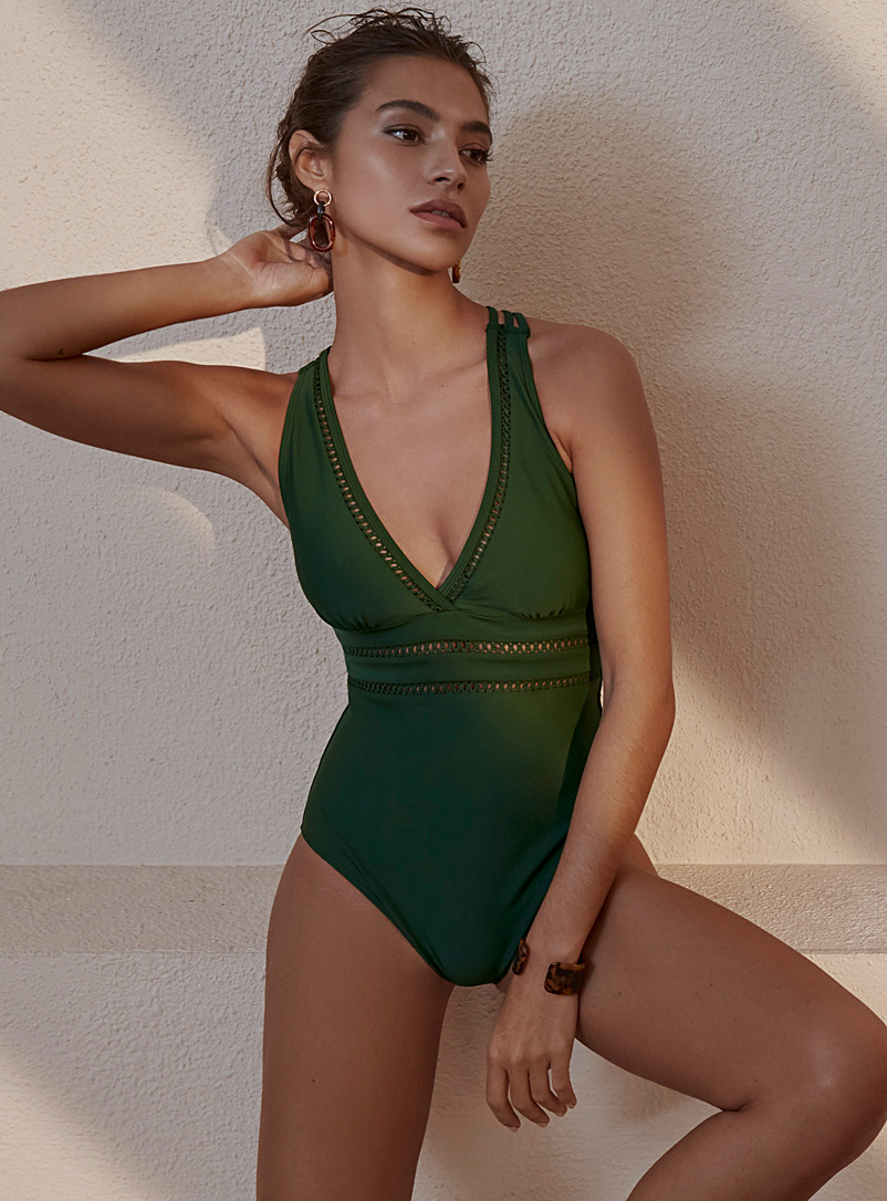Openwork crochet V-neck one-piece - All Our Swimsuits - Green
