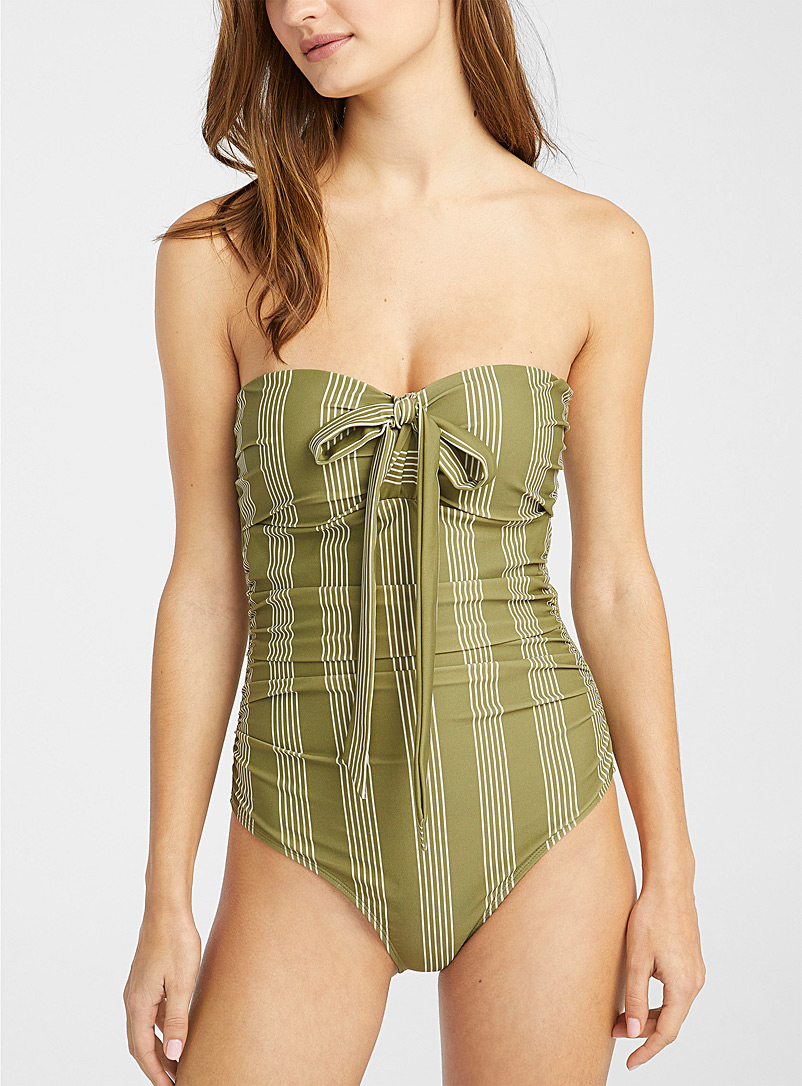 Simons Patterned Black Draped bandeau-style one-piece for women