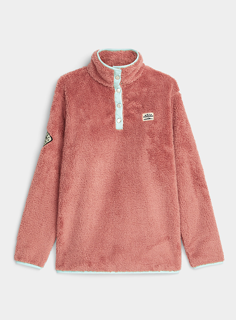 Pink and turquoise plush sweatshirt