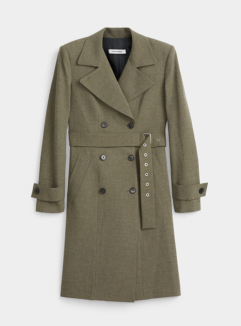 Kathryn Bowen Green Modern wool trench coat for women