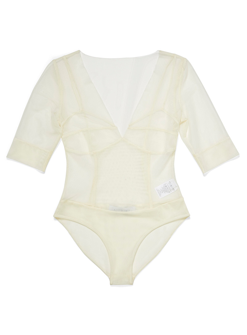Kathryn Bowen White Micro-tulle bodysuit for women