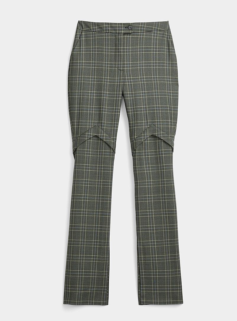 Kathryn Bowen Green Flared check pant for women