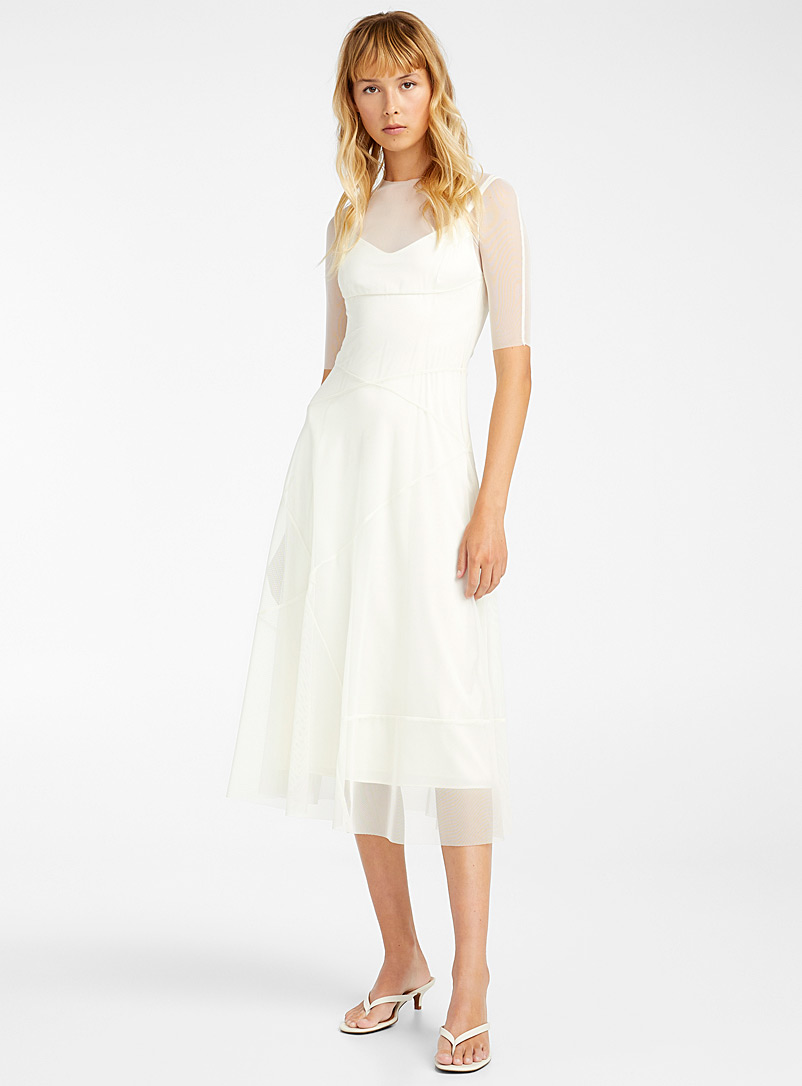 Kathryn Bowen White Mesh overlay dress for women
