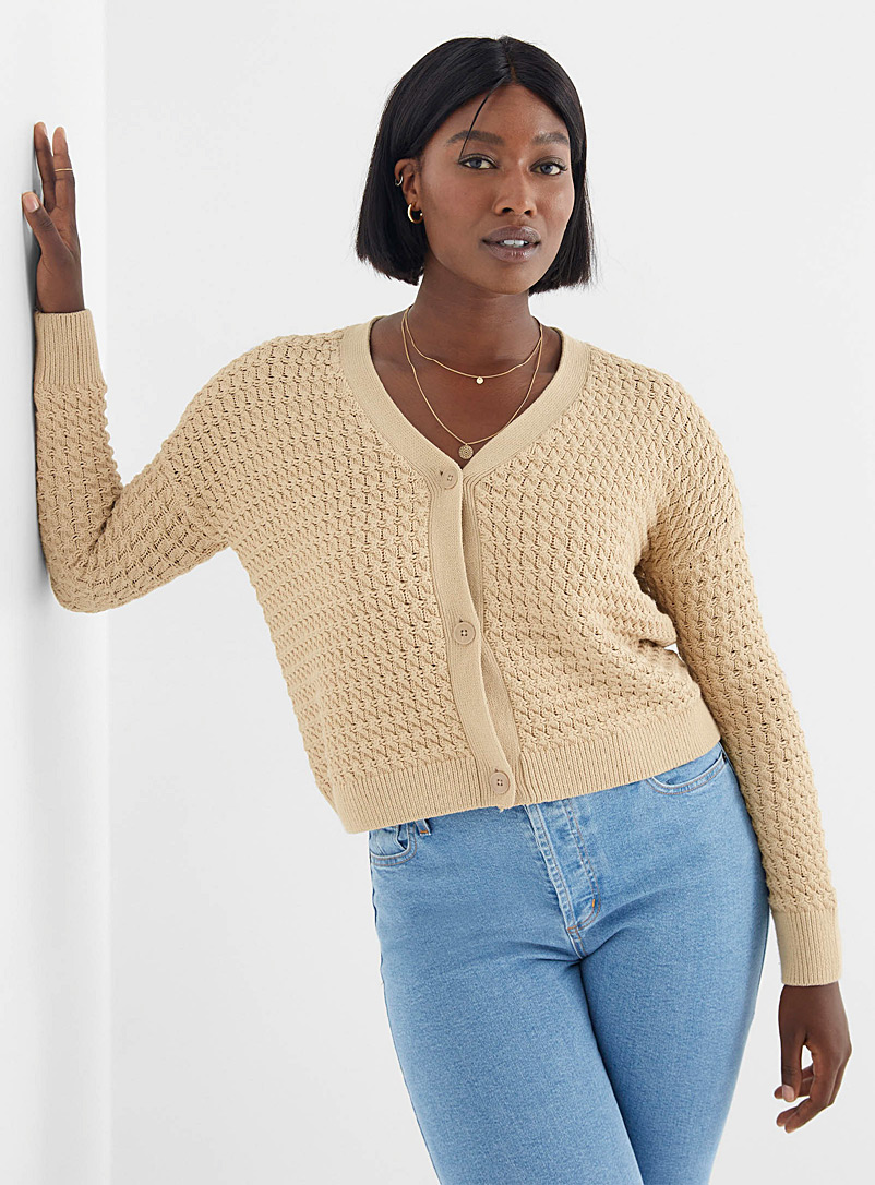 Contemporaine Honey Relief-knit V-neck cardigan for women