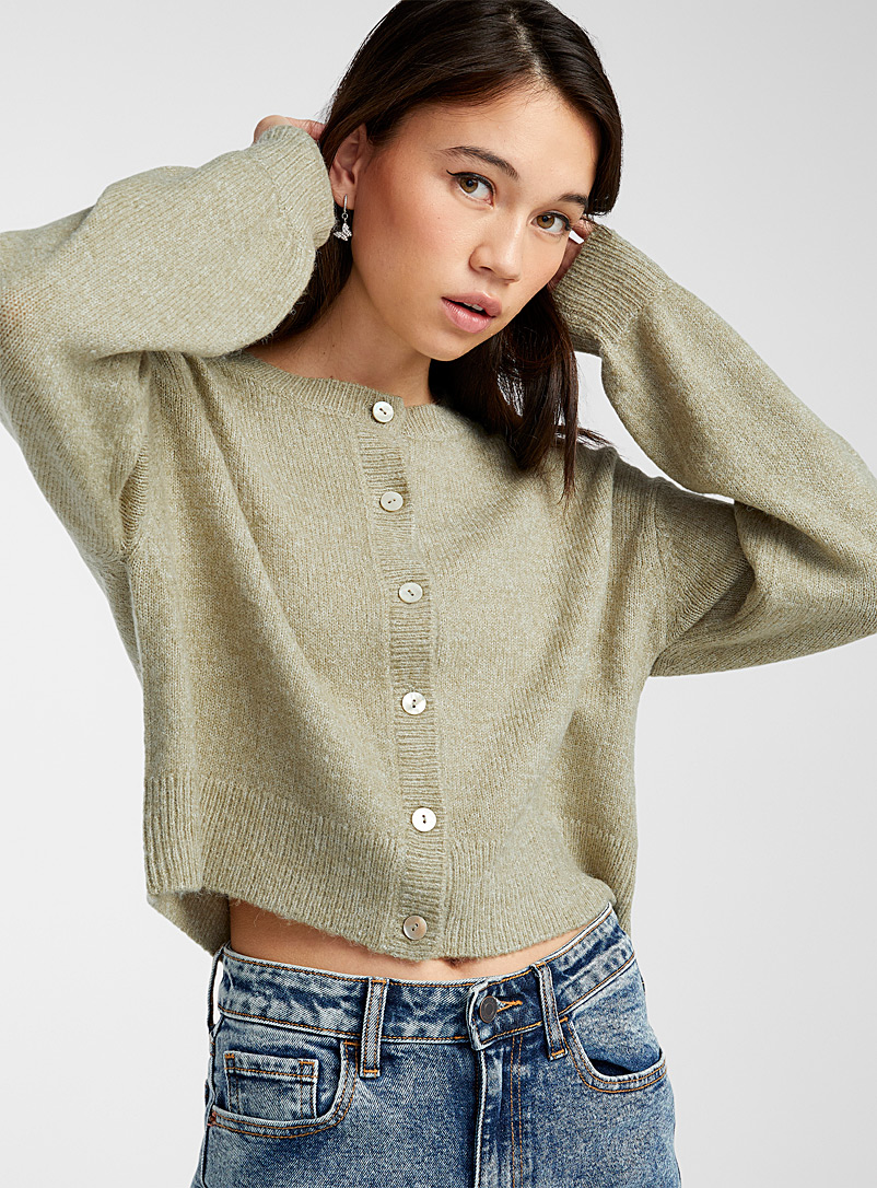 Twik Assorted Iridescent button cropped cardigan for women