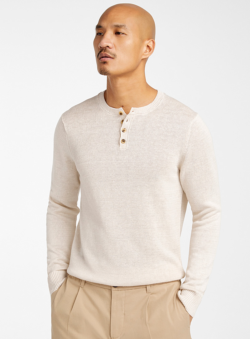 Pure linen knit sweater