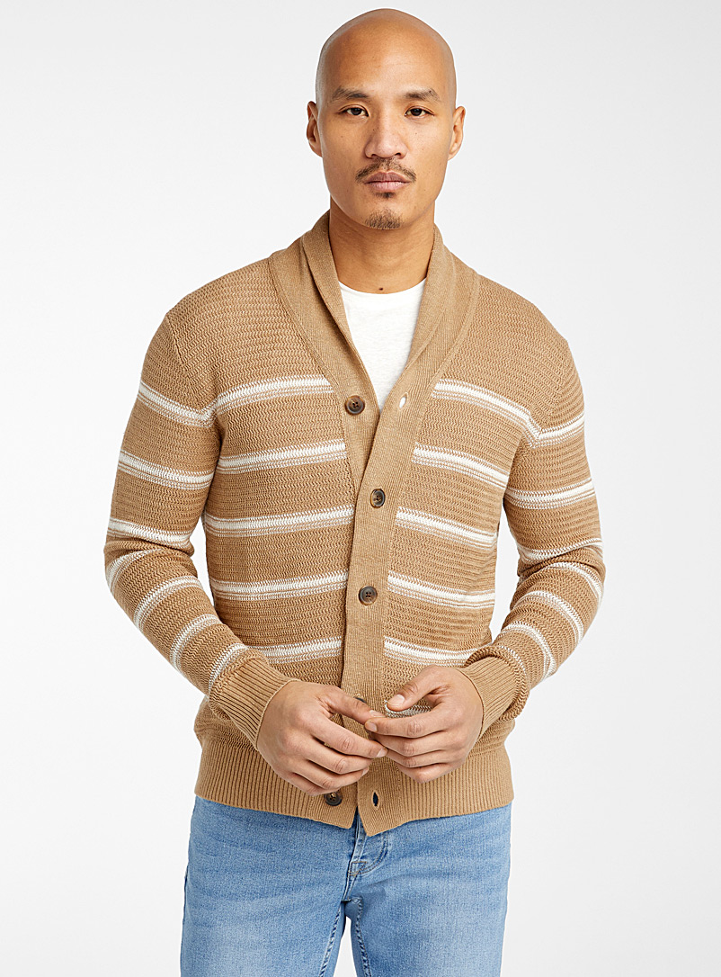 Le cardigan pur lin maille chevrons