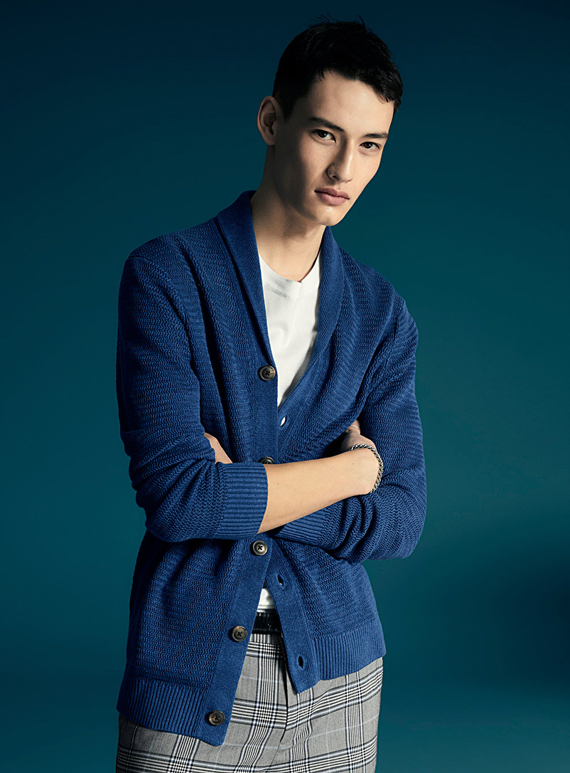 Le 31 Marine Blue Pure linen zigzag-knit cardigan for men