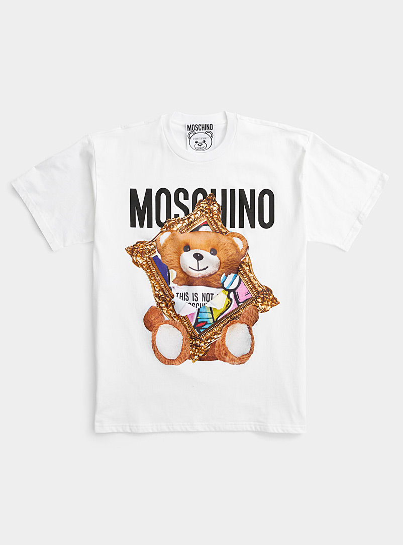 Moschino Patterned White Teddy artwork tee for women