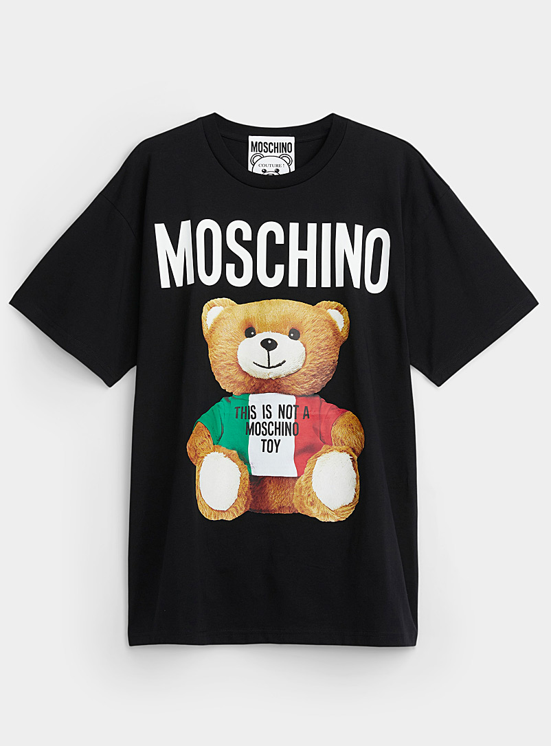 Moschino Patterned Black Italian Teddy Bear black T-shirt for women