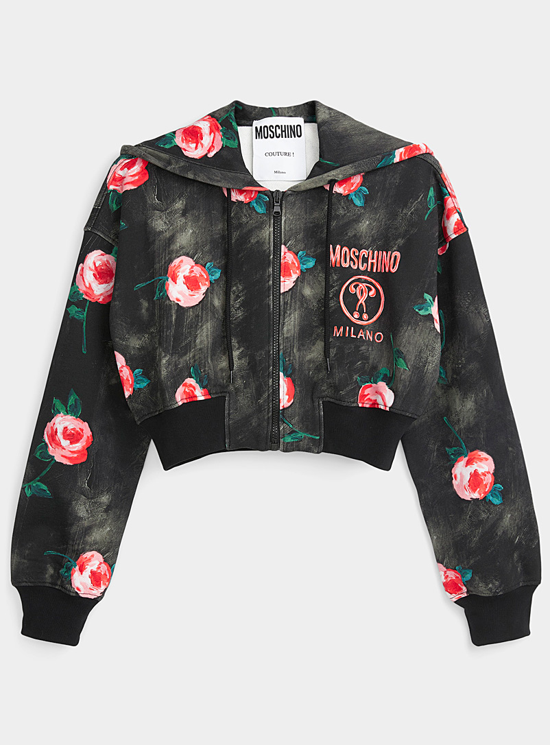 Moschino Patterned Black Painted flower zip cardigan for women