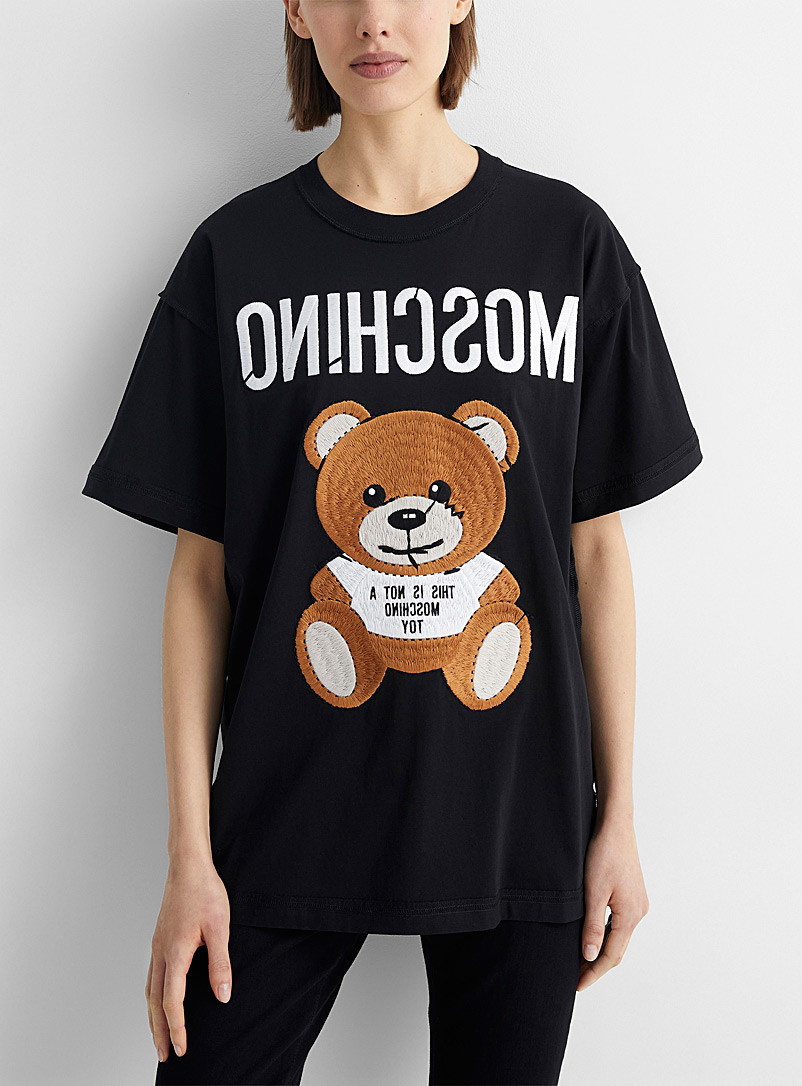 Moschino Black Embroidered teddy bear reversed T-shirt for women