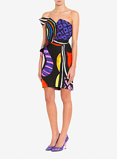 Moschino Patterned Black Abstract print bustier dress for women