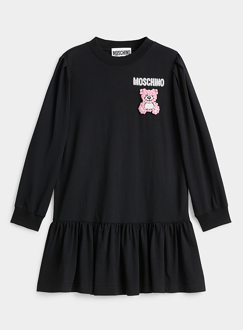 Moschino Black Embroidered teddy bear mini dress for women
