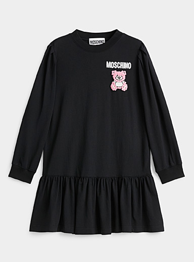 Embroidered teddy bear mini dress