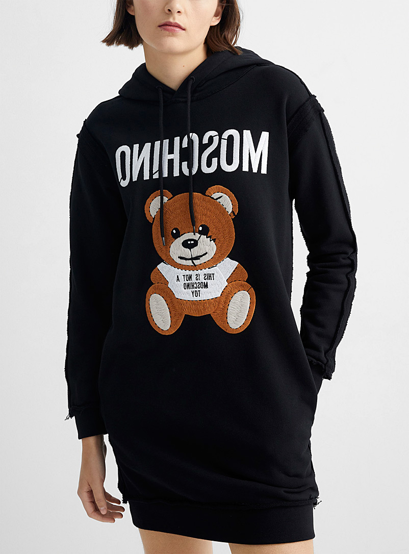 Moschino Black Embroidered teddy bear reversed sweatshirt dress for women
