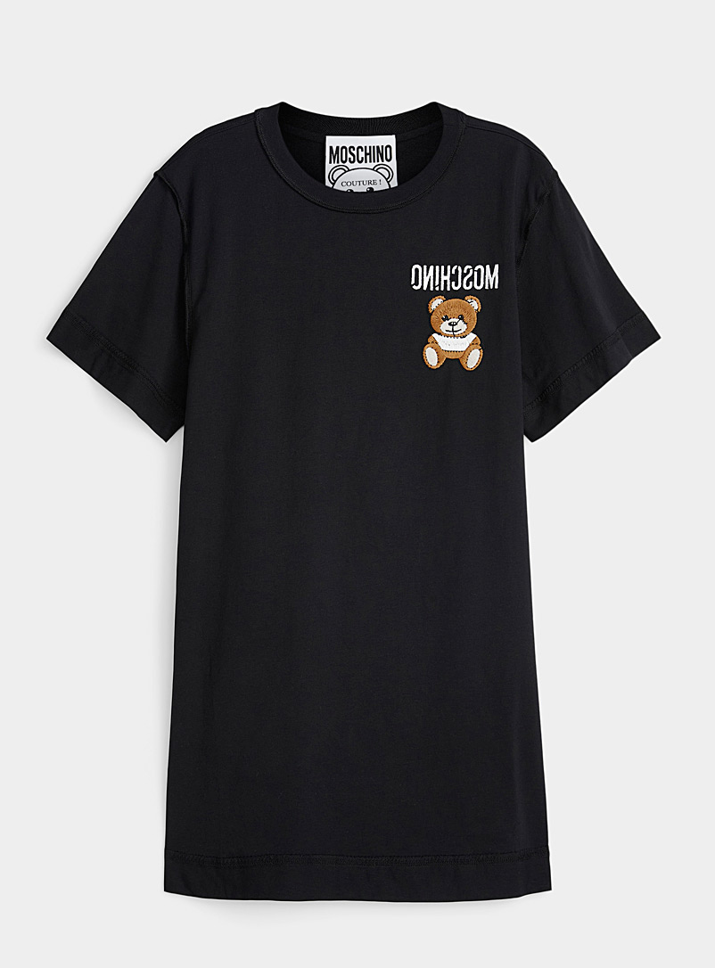 Moschino Black Embroidered teddy bear reversed T-shirt dress for women