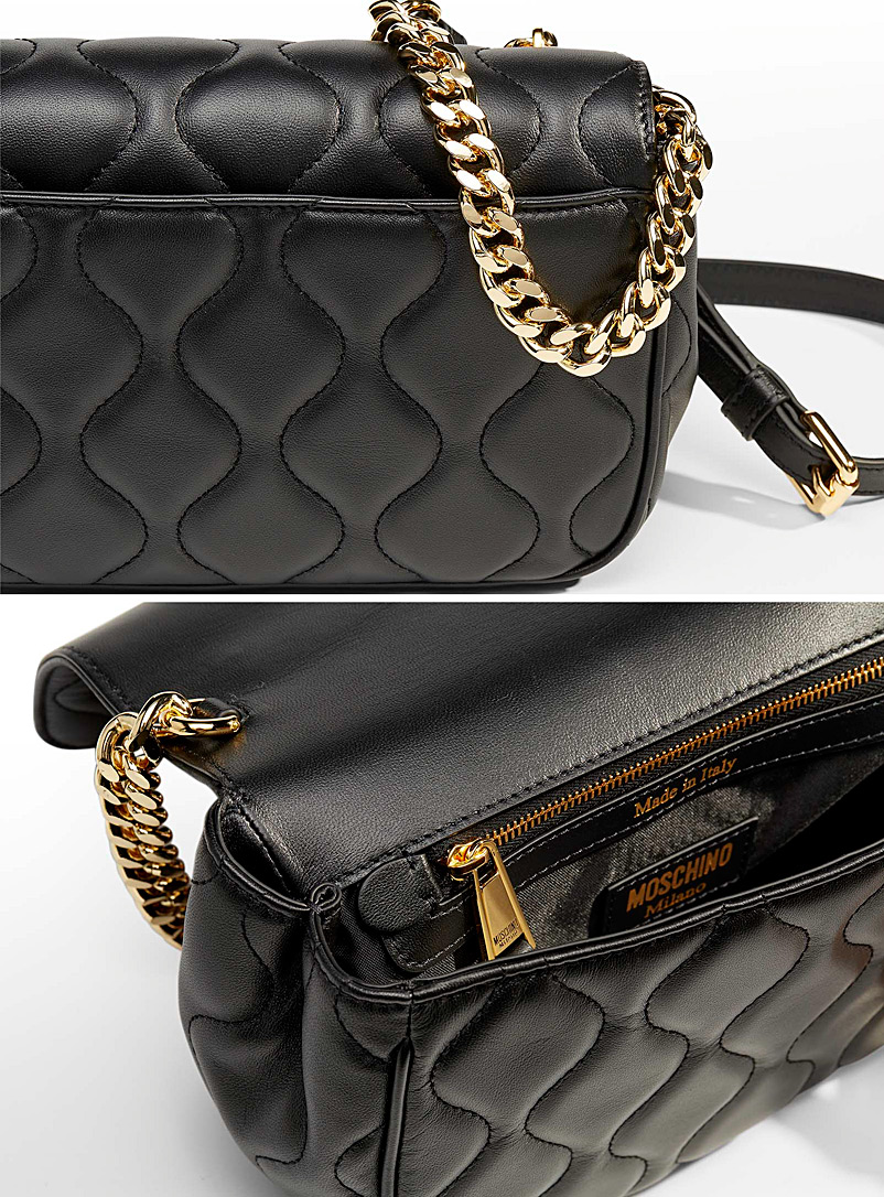 Moschino Patterned Black Charms quilted leather cross-body bag for women