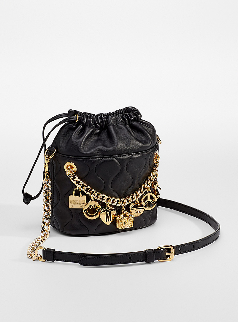 Moschino Patterned Black Charms quilted leather bucket bag for women