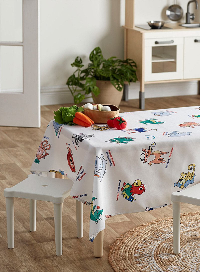 The animals of the jungle educative tablecloth - Printed - Patterned White