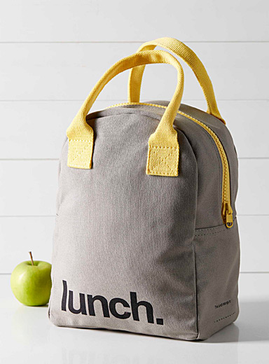 Typographic organic cotton lunch bag