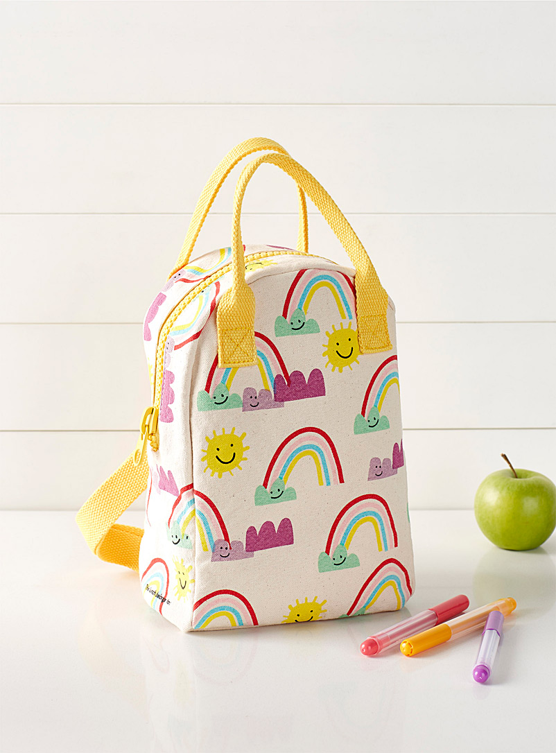 Fluf Assorted Rainbows organic cotton lunch bag