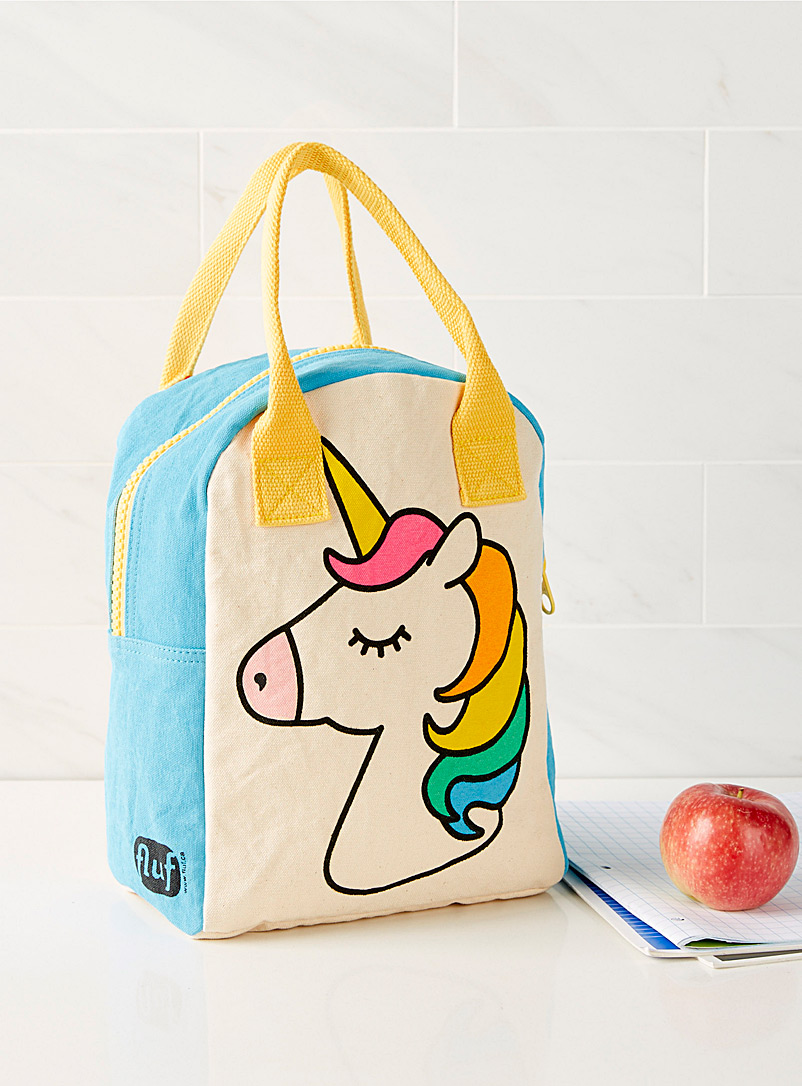Fluf Assorted Rainbow unicorn organic cotton lunch bag