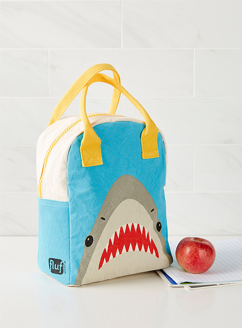 Fluf Assorted Organic cotton hungry shark lunch bag